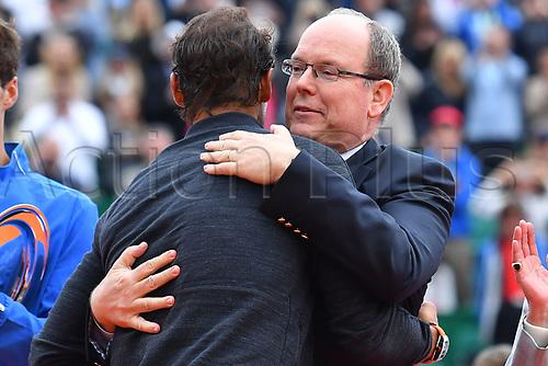 April 23rd 2017, Monte Carlo, Monaco; The Monte-Carlo Rolex Masters tennis tournament singles final, Rafael Nadal versus Albert Ramos-Vinolas; Nadal beats Albert Ramos-Vinolas in 2 sets to win the final  Prince Albert gives Nadal a hug