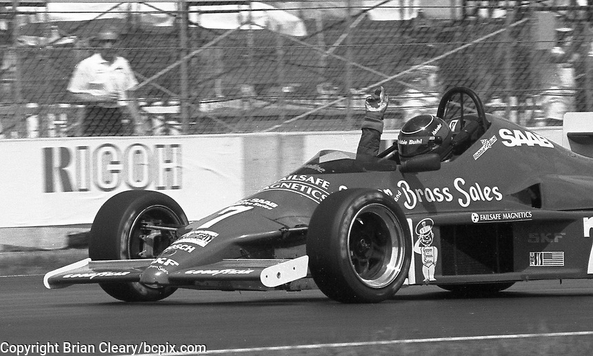 Robbie Buhl drives in a Barber Saab race before the IMSA GTP/Lights race at the Florida State Fairgrounds in Tampa, FL, October 1, 1989. (Photo by Brian Cleary/www.bcpix.com)