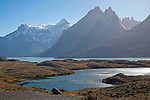 Afternoon Light on Nordernskjöld Lake and Mountain Peaks of Torres del Paine National Park in Patagonia Chile