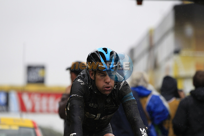 Richie Porte (AUS) Team Sky crosses the finish line in Arenberg at the end of a grueling Stage 5 of the 2014 Tour de France running 155.5km from Ypres to Arenberg. 9th July 2014.<br /> Picture: Eoin Clarke www.newsfile.ie