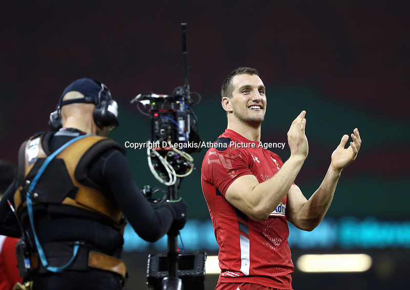Pictured: A delighted Wales captain Sam Warburton waves to the crowd after the final whistle Saturday 29 November 2014<br /> Re: Dove Men Series 2014 rugby, Wales v South Africa at the Millennium Stadium, Cardiff, south Wales, UK.