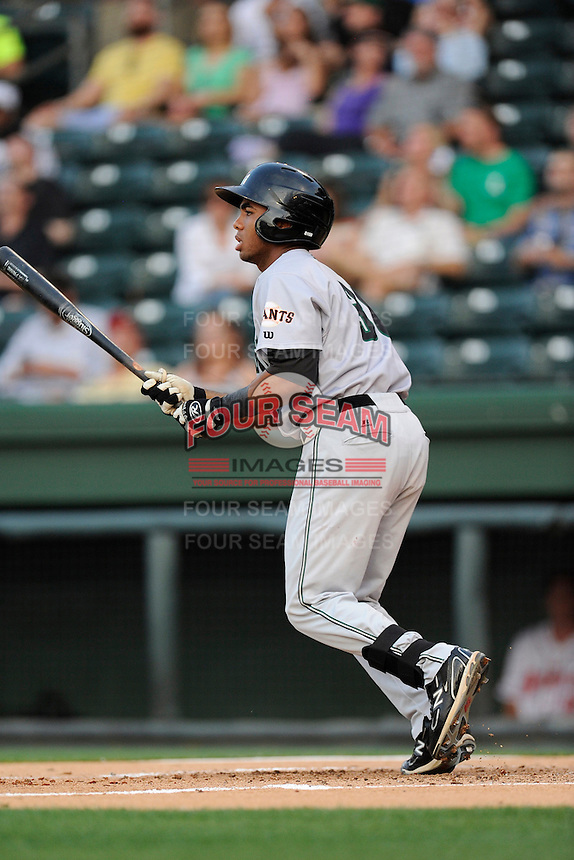 Center fielder Cristian Paulino (31) of the Augusta GreenJackets in a game against the Greenville Drive on Thursday, May 22, 2014, at Fluor Field at the West End in Greenville, South Carolina. Greenville won, 7-2. (Tom Priddy/Four Seam Images)