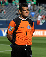 El Salvador's Miguel Montes lines up for the national anthem.  El Salvador defeated Cuba 6-1 at the 2011 CONCACAF Gold Cup at Soldier Field in Chicago, IL on June 12, 2011.