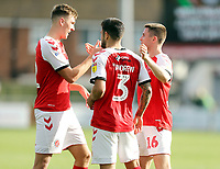 Fleetwood Town's (from left) Jimmy Dunne, Danny Andrew and Jordan Rossiter celebrate at he final whistle<br /> <br /> Photographer Rich Linley/CameraSport<br /> <br /> The EFL Sky Bet League One - Fleetwood Town v Oxford United - Saturday 7th September 2019 - Highbury Stadium - Fleetwood<br /> <br /> World Copyright © 2019 CameraSport. All rights reserved. 43 Linden Ave. Countesthorpe. Leicester. England. LE8 5PG - Tel: +44 (0) 116 277 4147 - admin@camerasport.com - www.camerasport.com
