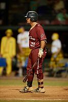 Macon Bacon Robert Brooks (37) bats during a Coastal Plain League game against the Savannah Bananas on July 15, 2020 at Grayson Stadium in Savannah, Georgia.  (Mike Janes/Four Seam Images)