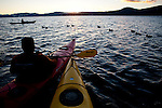 Winter kayaking on Lake Tahoe near Kings Beach, Calif., January 19, 2011.