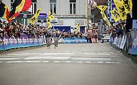 Ian Stannard (GBR/Sky) & Niki Terpstra (NLD/Etixx-QuickStep) in a sprint to the finish<br /> <br /> Omloop Het Nieuwsblad 2015