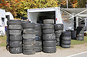 A pile of race car tires for the Fall Classic Champioship event at Circuit Mont-Tremblant in Quebec