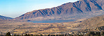 Panorama of Lake Tafi, NW Argentina. El Mollar town in the background.