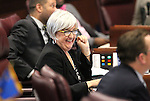 Nevada Sen. Debbie Smith, D-Sparks, works on the Senate floor at the Legislative Building in Carson City, Nev., on Friday, May 22, 2015. <br /> Photo by Cathleen Allison