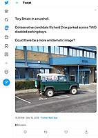 BNPS.co.uk (01202 558833)<br /> Pic: BNPS<br /> <br /> PICTURED (WITH PRERMISSION FROM PHOTOGRAPHER): A Tory MP hopeful has apologised after being photographed parking across two disabled parking spaces.MP Richard Drax, who is contesting his South Dorset seat, left his branded Land Rover parked sideways straddling the two spots while stopping off at his campaign HQ near Wool, Dorset.He was snapped parking illegally while popping inside to pick up some campaign literature. Mr Drax said his parking was 'thoughtless' and will 'never be repeated'.