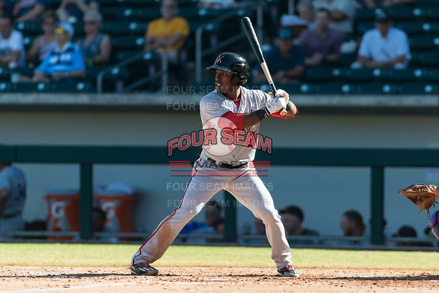 Salt River Rafters center fielder Daniel Johnson (7), of the Washington Nationals organization, at bat during an Arizona Fall League game against the Mesa Solar Sox at Sloan Park on October 30, 2018 in Mesa, Arizona. Salt River defeated Mesa 14-4 . (Zachary Lucy/Four Seam Images)