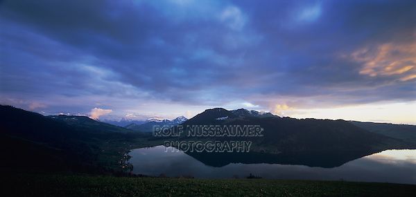 Lake of Aegeri and swiss alps at sunset, Oberaegeri, Zug, Switzerland, Europe