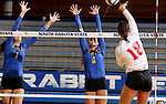BROOKINGS, SD - SEPTEMBER 4:  Sierra Peterson #1 and Nazya Thies #6 from South Dakota State try for a block against Allison Turner #18 from Bradley in their match Sunday afternoon at Frost Arena in Brookings. (Photo by Dave Eggen/Inertia)
