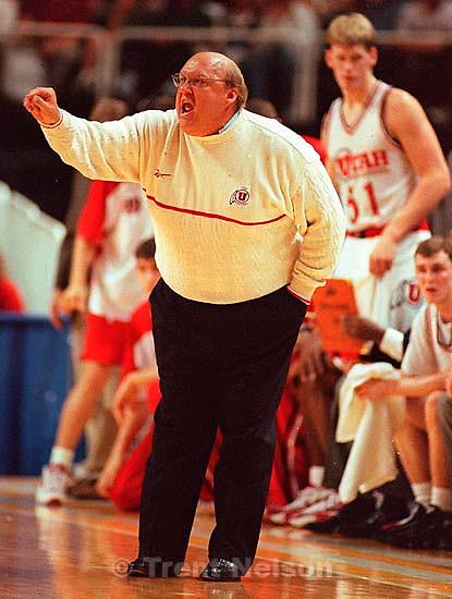 Coach Rick Majerus at Utah vs Stanford, NCAA Tournament.<br />