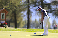 Mike Lorenzo-Vera (FRA) birdie putt on the 5th green during Saturday's Round 3 of the 2018 Omega European Masters, held at the Golf Club Crans-Sur-Sierre, Crans Montana, Switzerland. 8th September 2018.<br /> Picture: Eoin Clarke | Golffile<br /> <br /> <br /> All photos usage must carry mandatory copyright credit (&copy; Golffile | Eoin Clarke)