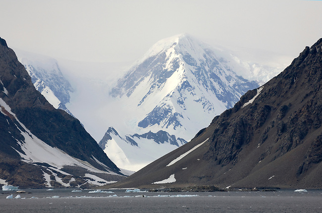 Marguerite Bay, Mountains, Valleys and a glacier along the Fallieres Coast, part of Graham Land. Antarctic Peninsula