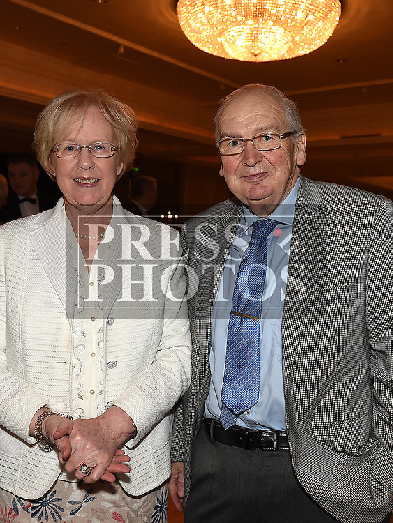 Johnny Callaghan and his wife Rosemary from Callaghan Butchers who won the Age Friendly Customer Service Award at the Baile Atha Fherdia Traders Awards in the Nuremore hotel Carrickmacross. Photo:Colin Bell/pressphotos.ie