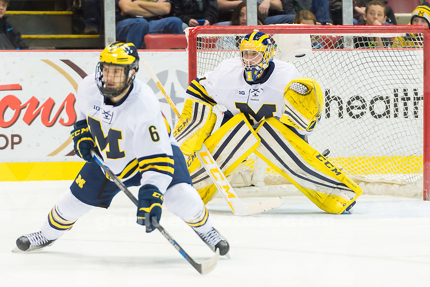 The University of Michigan ice hockey team defeats Northern Michigan University,3-2,in the Great Lakes Invitational at Joe Louis in Detroit, MI on December 29, 2015.