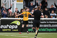Jake Embery celebrates scoring Maidstone's opening goal during Maidstone United vs Havant and Waterlooville, Vanarama National League Football at the Gallagher Stadium on 9th March 2019