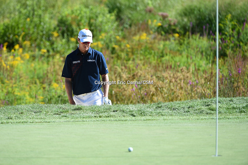 August 29, 2014 -  Norton, Mass. - John Senden reacts after hitting his way out of the sand on the 3rd hole during the first round of the PGA Deutsche Bank Championship held at the Tournament Players Club in Norton Massachusetts. Eric Canha/CSM