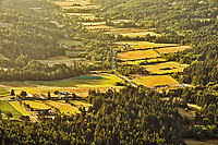 View of farmland from summit of Mount Maxwell. Mount Maxwell Park, Saltspring Island (Gulf Islands), British Columbia, Canada