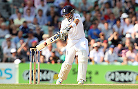Joe Root of England edges one and is caught out - England vs Australia - 5th day of the 5th Investec Ashes Test match at The Kia Oval, London - 25/08/13 - MANDATORY CREDIT: Rob Newell/TGSPHOTO - Self billing applies where appropriate - 0845 094 6026 - contact@tgsphoto.co.uk - NO UNPAID USE