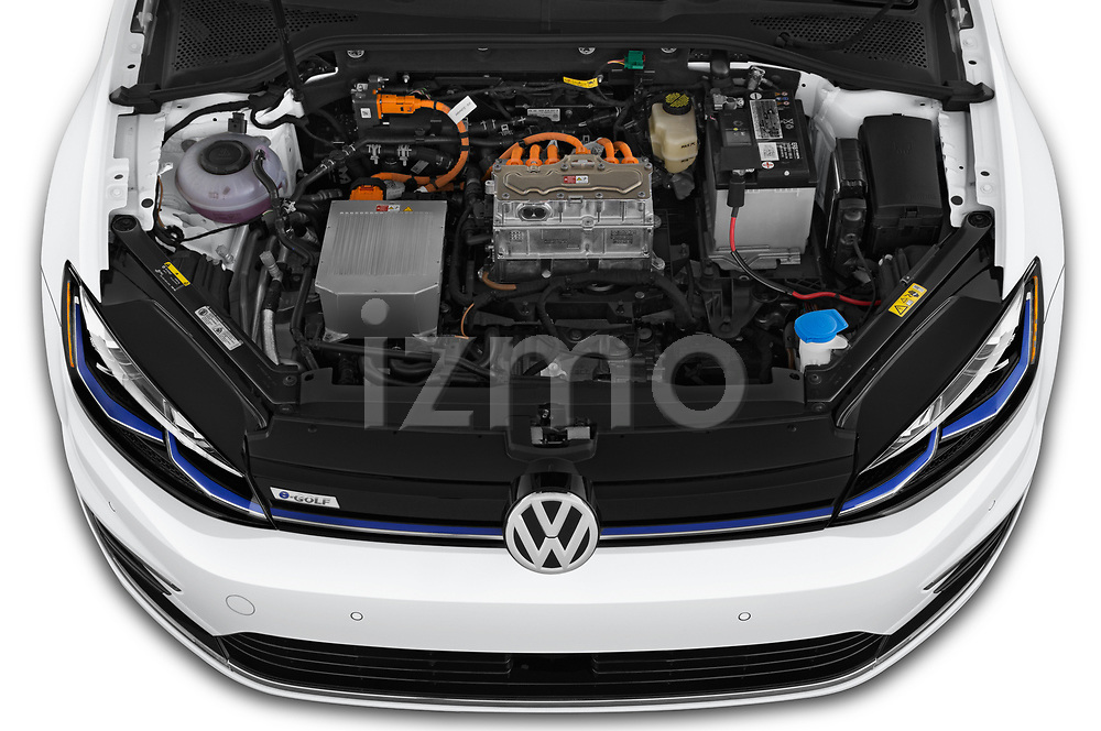Car stock 2019 Volkswagen e-Golf SEL Premium 5 Door Hatchback engine high angle detail view