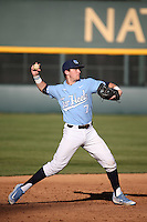 Logan Warmoth (7) of the North Carolina Tar Heels makes a throw during a game against the UCLA Bruins at Jackie Robinson Stadium on February 20, 2016 in Los Angeles, California. UCLA defeated North Carolina, 6-5. (Larry Goren/Four Seam Images)