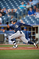 San Antonio Missions second baseman Luis Urias (3) gets a base hit to right field during a game against the Tulsa Drillers on June 1, 2017 at ONEOK Field in Tulsa, Oklahoma.  Tulsa defeated San Antonio 5-4 in eleven innings.  (Mike Janes/Four Seam Images)