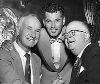 Auto Race drivers, Ralph DePalma, Freddie Agabashian, with Marshall Horner, pres. of Oakland Rotary Club luncheon. (1953 photo)