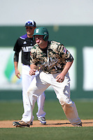 Slippery Rock catcher Alex Bell (14) during a game against Kentucky Wesleyan College at Jack Russell Stadium on March 14, 2014 in Clearwater, Florida.  Slippery Rock defeated Kentucky Wesleyan 18-13.  (Mike Janes/Four Seam Images)