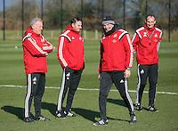 Pictured L-R: Alan Curtis, Gabriele Ambrosetti, Diego Bortoluzzi and David Adams Thursday 25 February<br />Re: Swansea City FC training at Fairwood, near Swansea, Wales, UK, ahead of their game against Tottenham Hotspur.