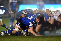 Elliott Stooke of Bath Rugby in action at a scrum. Premiership Rugby Cup match, between Bath Rugby and Gloucester Rugby on February 3, 2019 at the Recreation Ground in Bath, England. Photo by: Patrick Khachfe / Onside Images
