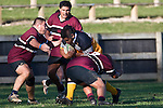 Dwayne Harris is met by opposing front row forwards Rico Debrower & Tom Teu. CMRFU Counties Power Cup Game of the Week between Te Kauwhata & Puni played at Te Kauwhata on Saturday May the 3rd, 2008..Te Kauwhata led 5 - 0 at halftime & went on to win 29 - 0.