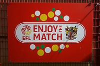General view of the Enjoy The Match sign during Stevenage vs Brighton & Hove Albion Under-21, Checkatrade Trophy Football at the Lamex Stadium on 7th November 2017