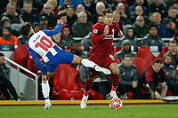 Oliver Torres of FC Porto and Roberto Firmino of Liverpool in action during the UEFA Champions League Quarter Final first leg match between Liverpool and Porto at Anfield on April 9th 2019 in Liverpool, England. (Photo by Daniel Chesterton/phcimages.com)<br /> Foto PHC/Insidefoto <br /> ITALY ONLY