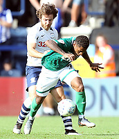 Sheffield Wednesday's Kadeem Harris goes down under the challenge from Preston North End's Ben Pearson<br /> <br /> Photographer Rich Linley/CameraSport<br /> <br /> The EFL Championship - Preston North End v Sheffield Wednesday - Saturday August 24th 2019 - Deepdale Stadium - Preston<br /> <br /> World Copyright © 2019 CameraSport. All rights reserved. 43 Linden Ave. Countesthorpe. Leicester. England. LE8 5PG - Tel: +44 (0) 116 277 4147 - admin@camerasport.com - www.camerasport.com