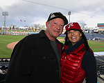 John Causey and Sheri Geyer during the 2019 opening day game between the Reno Aces and the Albuquerque Isotopes at Greater Nevada Field in Reno, Nevada on Tuesday, April 9, 2019.