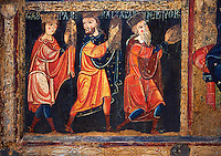 Detail from the twelfth century Romanesque Altar Front of Avia depicting the Magi or Three Kings from the Nativity, from the church of Santa Maria d'Avia, Spain. National Art Museum of Catalonia, Barcelona. MNAC 15784