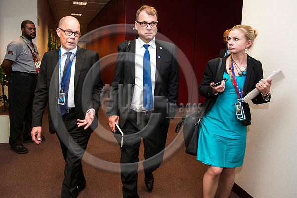 BRUSSELS - BELGIUM - 22 June 2017 -- Kare Halonen, State Secretary for EU affairs the Prime Minister's Office Head of EU Affairs Department with Juha Sipilä, the Prime Minister of Finland and Riikka Pakarinen, Special Adviser (EU Affairs) on their way to the Prime Ministers press conference. -- PHOTO: Juha ROININEN / EUP-IMAGES