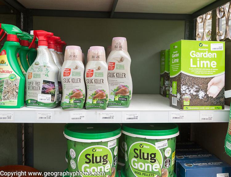 Slug Gone and Slug Killer products on sale, The Walled garden plant nursery, Benhall, Suffolk, England, UK