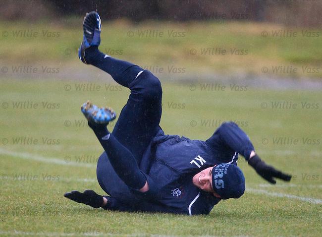 Kyle Lafferty takes a tumble