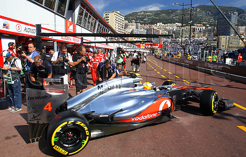 24.05.2012.Monte Carlo, Monaco.  British Formula One driver Lewis Hamilton of McLaren Mercedes drives his  car out of the pit area during the first practice session at the F1 race track of Monte Carlo, 24 May 2012. The Grand Prix will take place on 27 May.