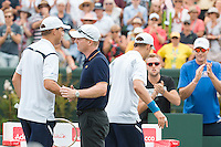 March 5, 2016: Jim Courier, captain of the US team congratulates Bob Bryan after winning the doubles match against Lleyton Hewitt and John Peers of Australia at the BNP Paribas Davis Cup World Group first round tie between Australia and USA at Kooyong tennis club in Melbourne, Australia. Photo Sydney Low