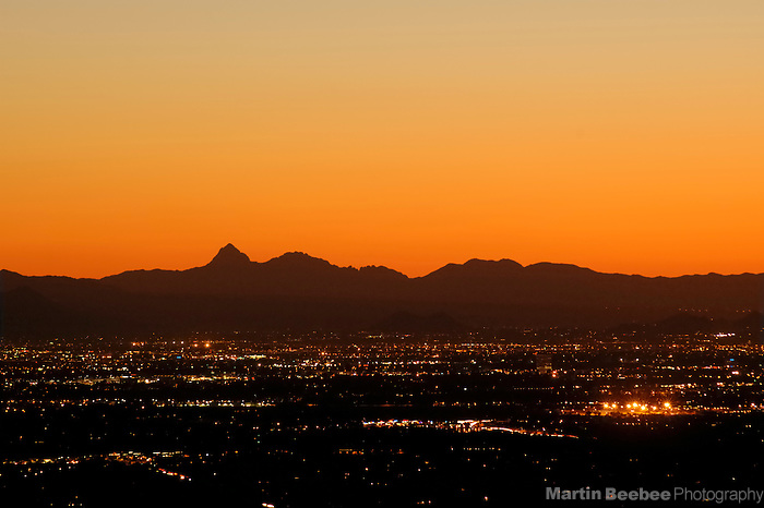 Tucson city lights at dusk, Arizona