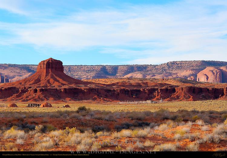 Navajo Dine Forked-Stick Male Hogan, Female Hogans and Summer Shelter at the Hub, Monument Valley Navajo Tribal Park, Navajo Nation Reservation, Utah/Arizona Border