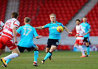 Kyle Dempsey of Fleetwood Town wins the ball during the Sky Bet League 1 match between Doncaster Rovers and Fleetwood Town at the Keepmoat Stadium, Doncaster, England on 17 February 2018. Photo by Leila Coker / PRiME Media Images.during the Sky Bet League 1 match between Doncaster Rovers and Fleetwood Town at the Keepmoat Stadium, Doncaster, England on 17 February 2018. Photo by Leila Coker / PRiME Media Images.