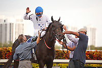 Take Charge Indy with jockey Calvin Borel after winning the Florida Derby (G1) Gulfstream Park Hallandale Beach Florida. 03-31-2012. Arron Haggart/Eclipse Sportswire