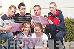 ENGLISH PAPER: Happy that their first English paper is over in the Leaving Cert on Wednesday at Gaelcholaiste Chiarrai, Tra Li, were Deirdre Ni Choncubhair, Caislean Ghriaire, Mairead De Faoite, Cill Flainn, Daithi O Niallagain agus Brian O Mathuna, Currow, Cian O Conchuir agus Caoimhin O Ceallachain, Castleisland..
